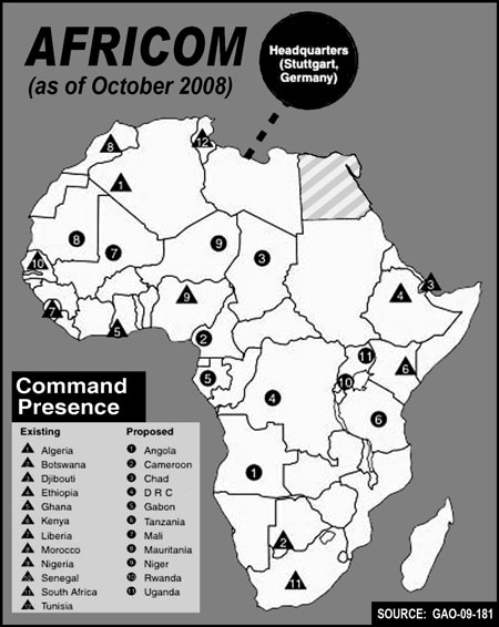 Libya - Map of us military bases in africa